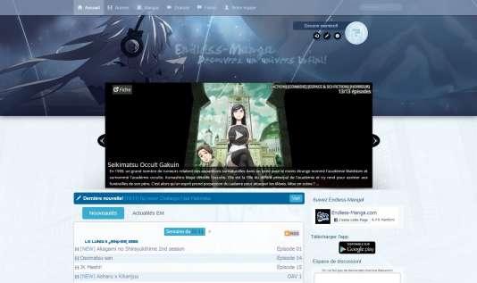 Capture d'écran du site pirate Endless Manga début janvier 2015.