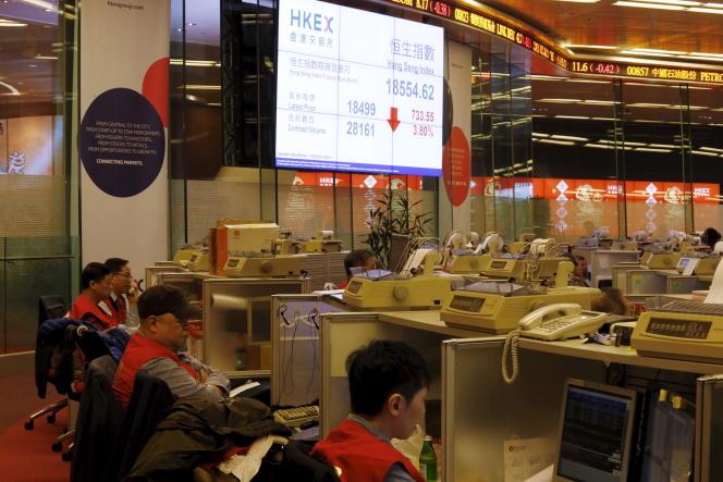 Chute de l'indice Hang Seng à la Bourse de Hongkong, jeudi 11 février.