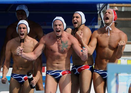 L'équipe de France de water-polo, en juillet 2014 à Budapest.