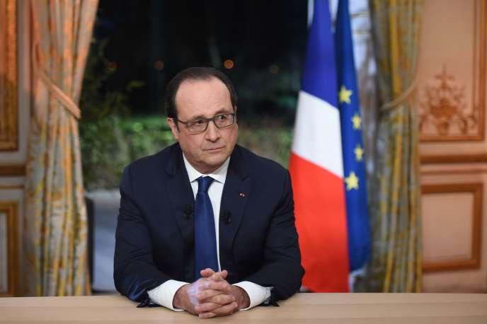 François Hollande, jeudi 11février, àl'Elysée lors de son intervention télévisée.