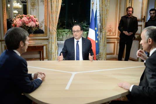 Le président français, François Hollande, lors de son intervention télévisée sur TF1 et France 2, jeudi 11 février, au palais de l'Elysée, à Paris.