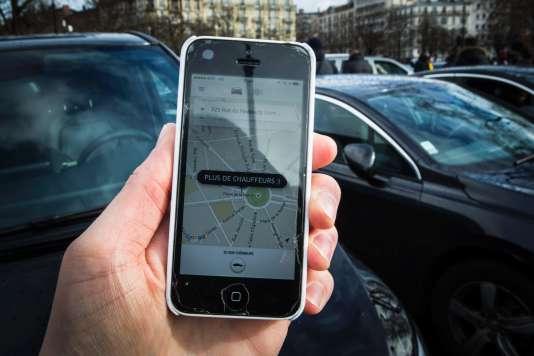 """L'application Uber affichant """"plus de chauffeurs"""" le 9 janvier 2016."""