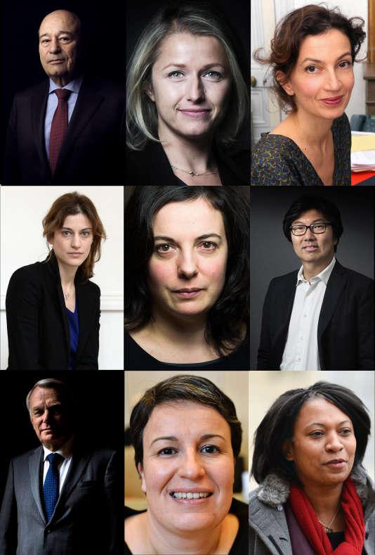 Jean-Michel Baylet, Barbara Pompili, Audrey Azoulay, Juliette Méadel, Emmanuelle Cosse, Jean-Vincent Placé, Jean-Marc Ayrault, Estelle Grelier et Hélène Geoffroy.