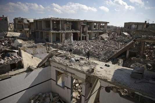 Dans les décombres de Douma, aux environs de Damas, le 9 février 2016.