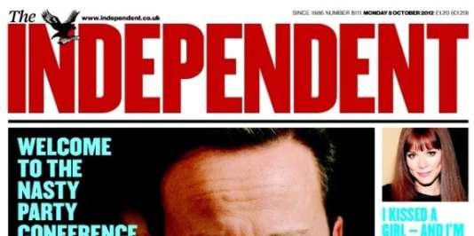 « Une » de « The Independent » du 9 octobre 2012.