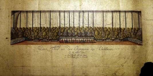 Reproduction d'une gravure intitulée «La Fête à l'Orangerie de Schönbrunn», réalisée par Johann Hieronymus Loeschenkohl, montrant le premier de deux opéras écrits par Mozart et Salieri à la cour impériale d'Autriche, en1786.