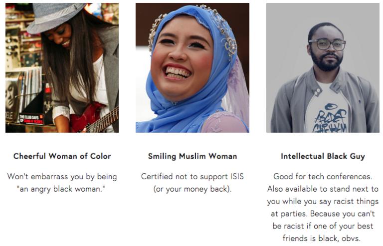 Rent-A-Minority propose des Noirs heureux et des femmes musulmanes souriantes à louer pour vos photos d'entreprises.
