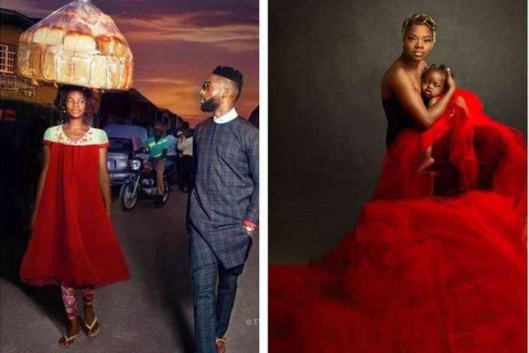 A gauche, Olajumoke Orisaguna en photo avec le rappeur Tinnie Tempah et à droite une photo d'elle en compagnie de sa fille de quatorze mois.
