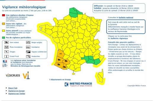La carte de vigilance de Météo France samedi 13 février à 18 heures.