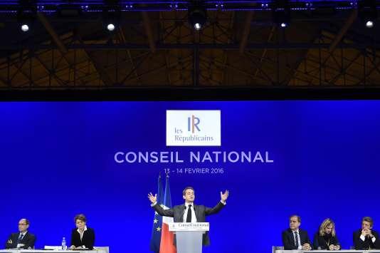 Nicolas Sarkozy lors du conseil national des Républicains, à Paris, le 13 février.