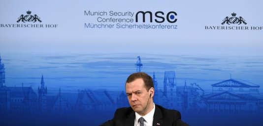 Le premier ministre russe Dmitri Medvedev au sommet de Munich.