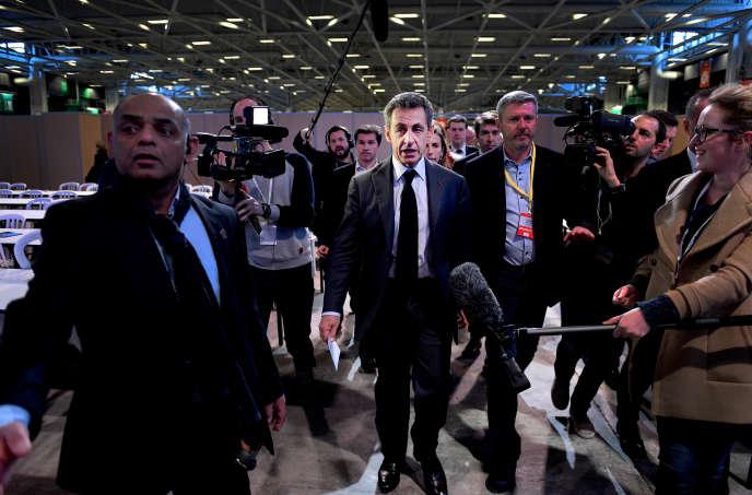Conseil national des republicains à Paris expo porte de Versailles le 13 fevrier 2016. Nicolas Sarkozy