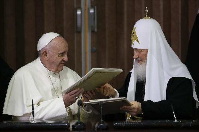 Le pape François et le patriarche Cyrille, à La Havane, le 12 février.