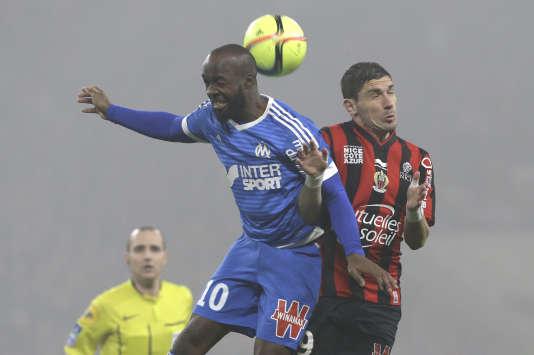 Le Marseillais Lassana Diarra (à gauche) et le Niçois Jérémy Pied, le 14 février 2016.