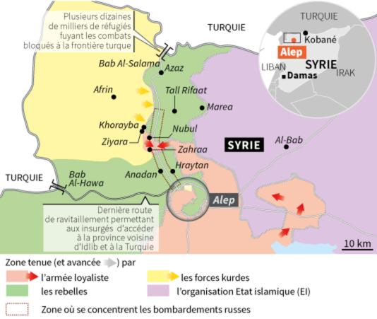 Carte du nord de la Syrie, en février 2015.