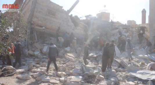 Capture vidéo de l'hôpital de MSF visé par des frappes aériennes le15février 2016, à Marat Al-Numan, en Syrie.