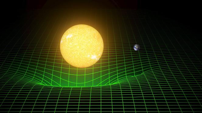 Une simulation informatique montrant la déformation de l'espace et du temps créée par notre soleil et la Terre.