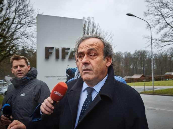 Michel Platini au siège de la FIFA en février 2016.