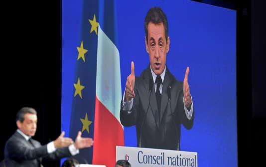 Nicolas Sarkozy, au conseil national des Républicains, à Paris, le 13 février.