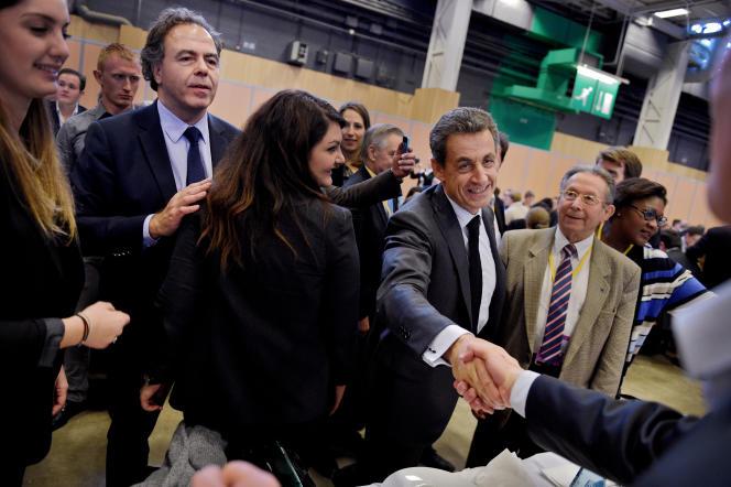 Conseil national des republicains à Paris expo porte de Versailles le 13 fevrier 2016. Luc Chatel le nouveau président du conseil national des Républicains avec Nicolas Sarkozy