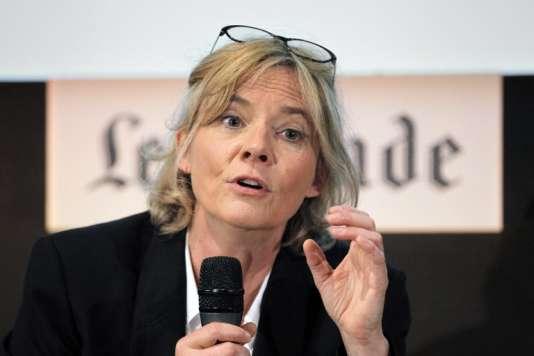 La journaliste Florence Aubenas, le 6 juin 2012, à Paris, coordonne LeMonde Académie.