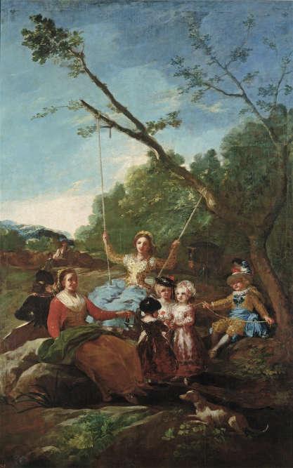Encore l'escarpolette chez Goya, sur un carton de tapisserie destiné au Palais du Pardo, en Espagne. En arrière-plan, les bergers affalés dans l'ombre s'amusent des gouvernantes et enfants enrubannés. Une manière de montrer la fracture sociale entre la paysannerie et l'aristocratie. En 1779, un an avant la Révolution française.