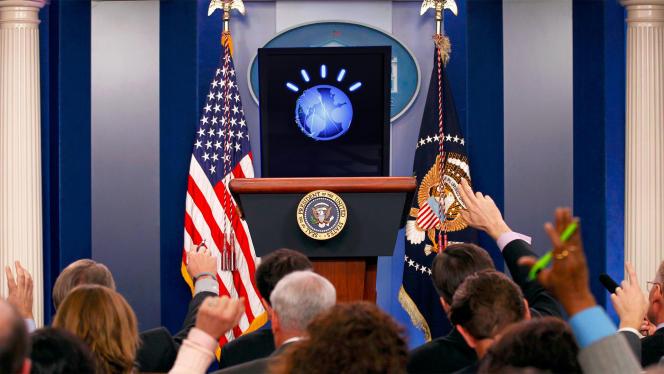 A la place du président américain, le logo de Watson, l'intelligence artificielle d'IBM.