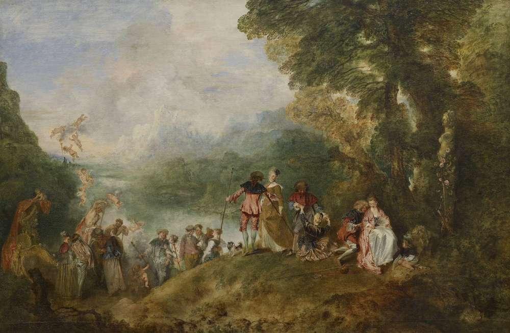 L'embarquement pour l'île natale d'Aphrodite, déesse de l'amour dans la mythologie grecque, lance le genre « fête galante » symbolisée par le bâton de pèlerin que portent les candidats au plaisir. C'est le morceau de réception de Watteau à l'Académie de peinture en 1717.