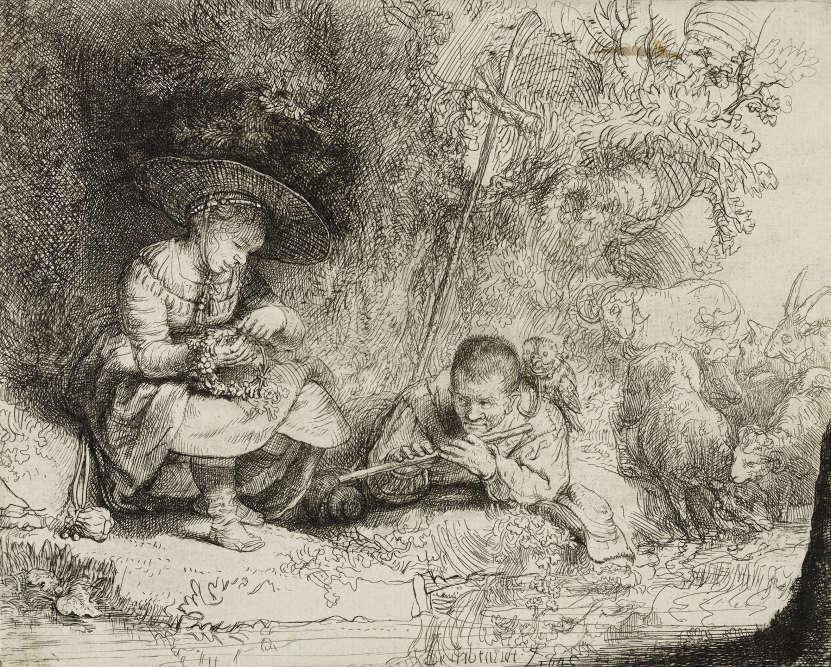 Le charmant de cette scène pastorale a un double sens. Le bâton de pèlerin, la flûte, la cueillette des fruits évoquent la virginité, les organes génitaux et la fertilité.