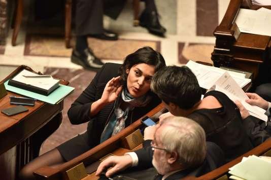 La ministre française du travail, Myriam El Khomri, le 16 février 2016 à l'Assemblée Nationale, Paris.