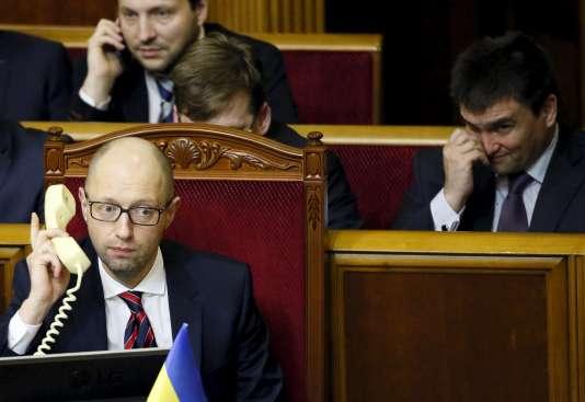 Le premier ministre ukrainien, Arseni Iatseniouk, au Parlement de Kiev, mardi 16février.