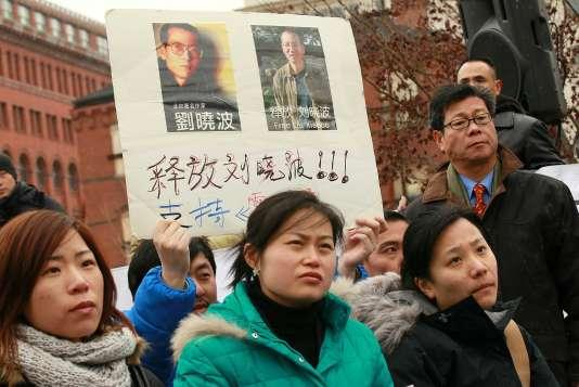Manifestation de soutien au dissident chinois Liu Xiabao, à Washington, en décembre 2010.