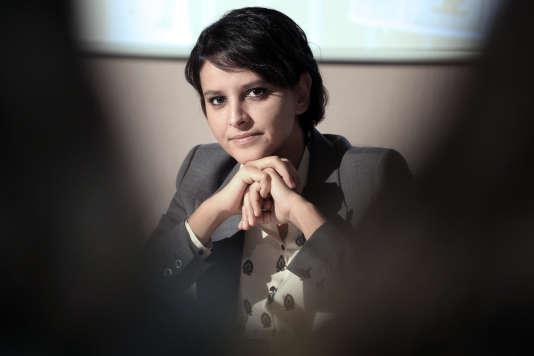 L'ancienne ministre de l'éducation, Najat Vallaud-Belkacem, à Ajaccio (Corse), le 17 février 2015.