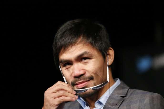Le champion de boxe Manny Pacquiao lors d'un conférence de presse à New York, le 21 janvier 2016.