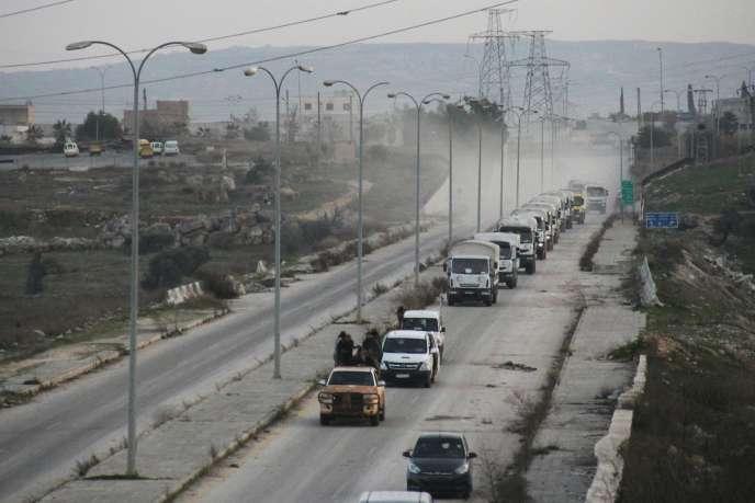 Un convoi d'aide humanitaire dans la province d'Idlib, le 17 février 2016.
