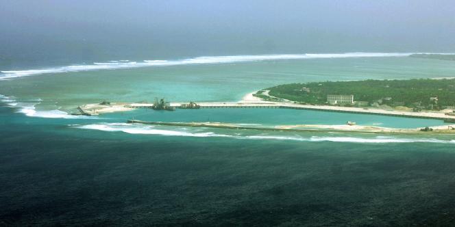 Vue aérienne de l'île Woody, ou Yongxing en chinois, dans l'archipel disputé des Paracels, en mer de Chine.