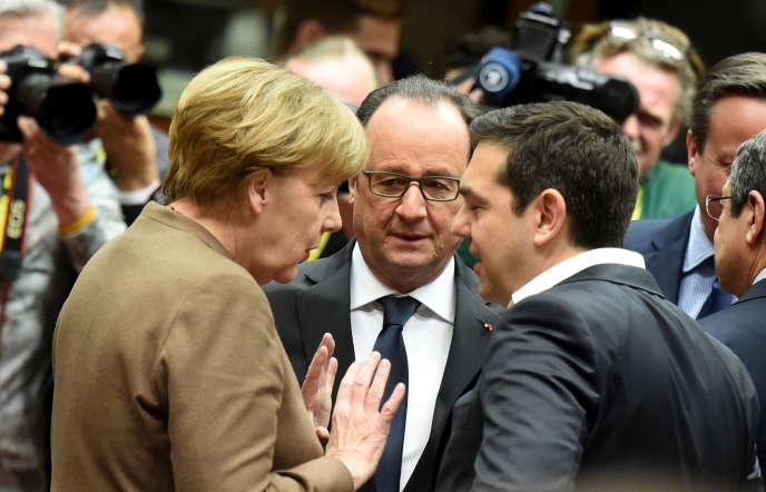 Angela Merkel, François Hollande et Alexis Tsipras, en février à Bruxelles.