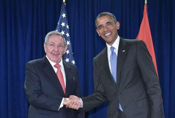 Raul Castro et Barack Obama, à l'ONU, le 29 septembre 2015.