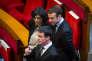 Manuel Valls, Myriam El Khomri et Emmanuel Macron, au Conseil économique, social et environnemental à Paris, lundi 18 janvier.