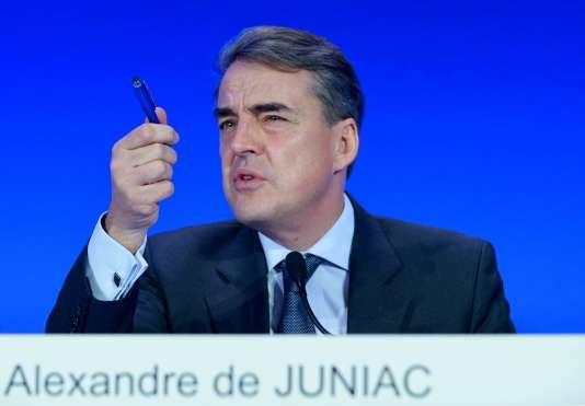 Le PDG du groupe Air France-KLM, Alexandre de Juniac, lors de la conférence de presse sur les résultats 2015, jeudi 18 février.