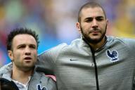 Mathieu Valbuena et Karim Benzema, lors de la Coupe du monde 2014, auBrésil.