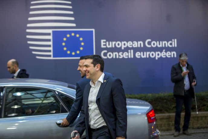 Alexis Tsipras, Premier ministre grec,  sort du Sommet des Chefs d'Etat et de gouvernement au Conseil européen à Bruxelles, Belgique, vendredi 19 février 2016 - 2016©Jean-Claude Coutausse / french-politics pour Le Monde