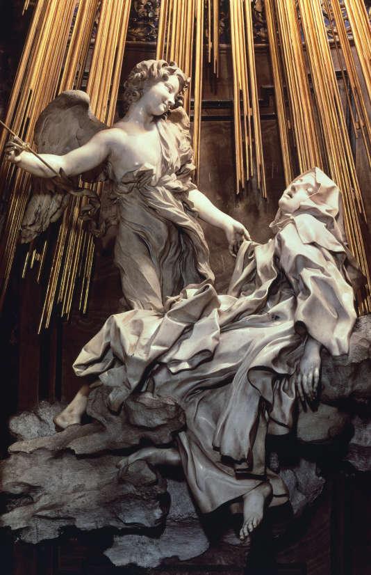 """""""L'Extase de Sainte Therese d'Avila (1515-1582)"""" dans la chapelle Cornaro de Santa Maria della Vittoria à Rome. Sculpture en marbre de Gian LorenzoBernini, dit Le Bernin ."""