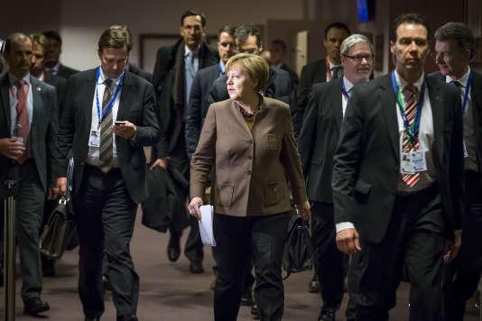 Angela Merkel, Sommet des Chefs d'Etat et de gouvernement à Bruxelles, Belgique, le 18 février .