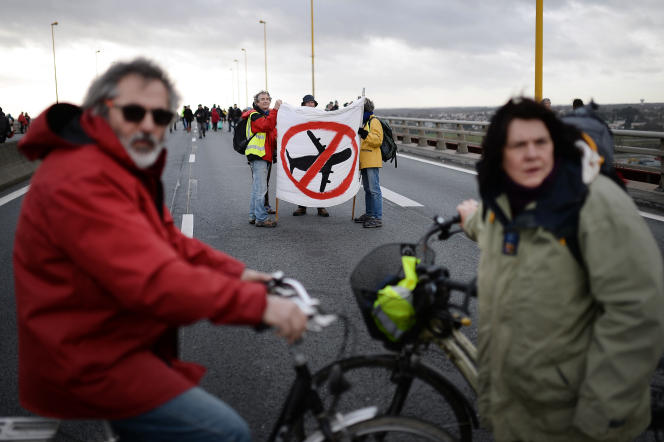 Des opposants à la création de l'aéroport de Notre-Dame-des-Landes manifestent à Nantes le 9 janvier 2016.