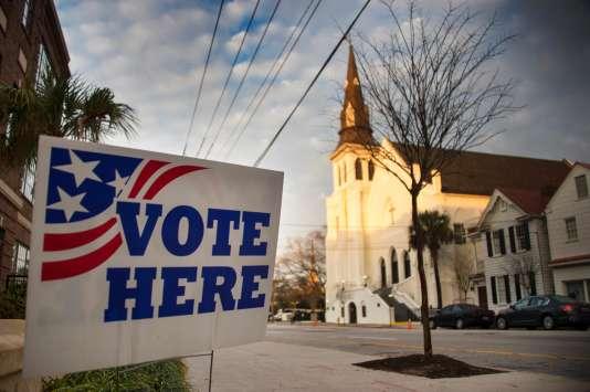 A Charleston, en Caroline du Sud, où se tient la primaire républicaine, samedi 20 février.