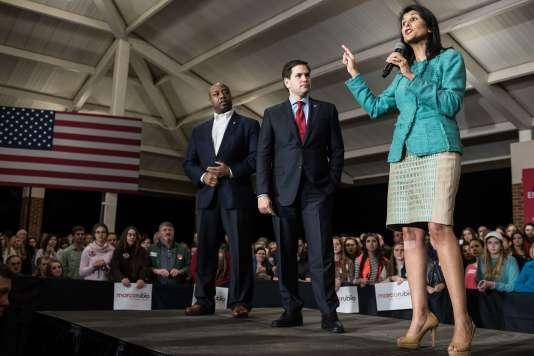 Nikki Haley, lors d'un meeting où elle soutenaitMarco Rubio dans la course à l'investiture républicaine en février, à Clemson, en Caroline du Sud.