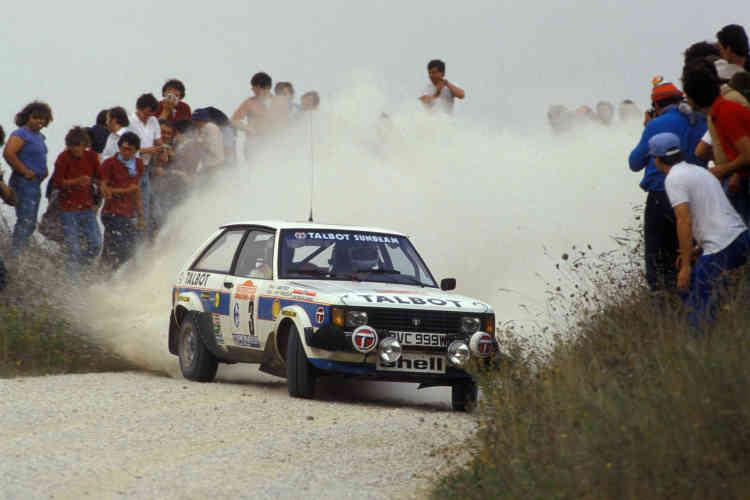 Rallye de San Remo 1981. Le duo Fréquelin (ancien pilote de rallye français)-Todt à bord de la Talbot Sunbeam Lotus.