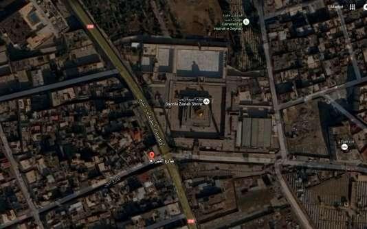 Lieu des attentats à Damas, près du sanctuaire chiite de Sayeda Zaineb.