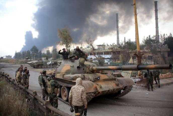 Les forces du gouvernement reprenant le contrôle sur Alep, le 21 février 2016.